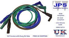 Brown Blue Green Test Leads 90 deg Kewtech Multifunction Tester Unfused JPSS087