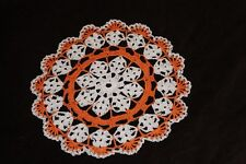 New Hand Crocheted Doily - white orange