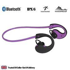 Auriculares audífonos deportivos Correr Banda Para El Cuello Bluetooth para iPhone 5 6 7-Púrpura