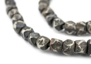 Silver Tuareg Cornerless Cube Beads 6x7mm Niger African White Metal Large Hole