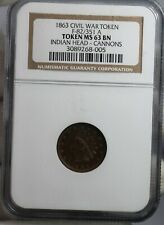 Ngc Ms-63 Bn 1863 Indian Head Cannons Civil War Token F-82/351 A Coin