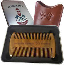 Beard Comb Dual Action SandalWood Comb Leather Pouch Antistatic Wood