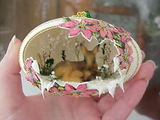 Real Hand Decorated Carved Goose Egg Christmas Ornament Fawn/Doe Whitetail Deer