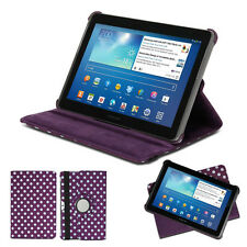 Samsung Galaxy Tab 10.1 360 rotating leather case cover Purple White Dot Pattern