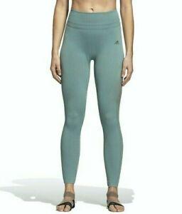 Adidas Women Training Warp Knit High-Rise 7/8 Tights Raw Green, Size: L. New