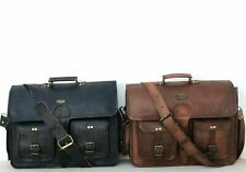 Leather Messenger Bag Shoulder Laptop Bag Briefcase Men's Vintage Black Brown