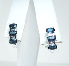 New SAPPHIRE 1.20 ct DIAMOND .40 ct 14K/10K White Gold Earrings * Gal Appraisal