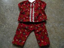 """VINTAGE CHATTY CATHY 18-20"""" NEW HANDMADE GINGERBREAD MEN ON RED FLANNEL PAJAMAS"""