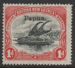 PAPUA (BNG) 1907 1d BLACK- CARMINE LAKATOI STAMP MH SG.39 (Sm.papua) OVP