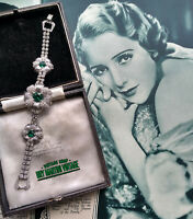 VINTAGE ART DECO EMERALD PASTE DIAMOND RHINESTONE BRACELET BEAUTIFUL BRIDAL