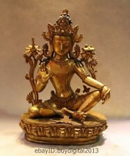 "15"" Tibet Tibetan Buddhism Bronze 24K Gold 7-eyes White Tara Goddess Buddha"
