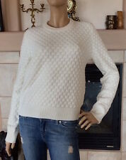 UNIQLO UUU LEMAIRE WOMEN OFF WHITE LAMBSWOOL STITCH CREWNECK SWEATER NWT SIZE M