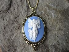 FLYING GUARDIAN ANGEL CAMEO ANTIQUED GOLD TONE NECKLACE, UNIQUE, RELIGIOUS, BLUE