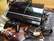 SONY PLAYSTATION 3 PS3 Fat 40GB Consola Con Almohadilla & conduce-Sin Caja-Funcionando