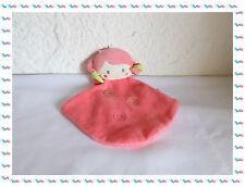 F - Doudou Plat Poupée Fille Rose  Broderies Sucre d'Orge
