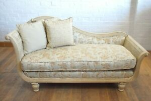 French country bergere cane chaise longue - day bed sofa settee