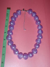 M&S Chunky Lilac Light Purple Knotted Cloudy Silk Look Bead Necklace 22cm Drop
