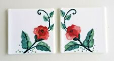 2 Hand Drawn Glass Tiles ,Roses On Glass ,Glass Tile Kitchen,Decorative Tiles