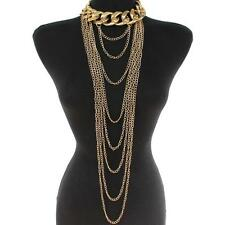 "19"" gold body chain thick layered choker bib collar chunky Necklace"