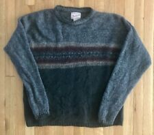 VINTAGE WOOLRICH CREWNECK WOOL SWEATER - MEN'S LARGE - MADE IN USA - GRAY
