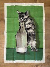 More details for vintage dunmoy kitten cat drinking milk bottle irish linen tea towel wall art
