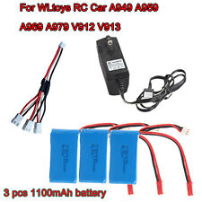 3pcs 1100mAh Battery+Charger+3-in-1 Cable For WLtoys RC A949 A959 A969 A979 V912