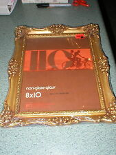 "Vtg New 8"" x 10"" Ornate Gold Molded Flowers Plastic Picture Frame No Glare Glass"