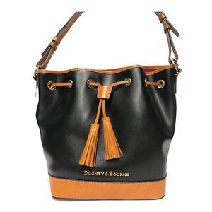 Dooney & Bourke Leather Drawstring Shoulder Bag Tassels LF038 BLACK - NWT $288