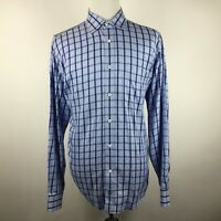 BUGATCHI UOMO Men's XL Blue Long Sleeve Button Shirt Checkered Cotton