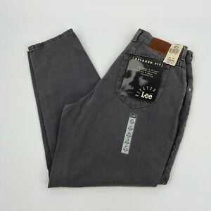 Vintage Lee Womens Riveted Relaxed Fit Tapered Leg Gray Straight Jeans Size 14 P
