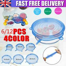 6/12Pcs Set Stretch Silicone Food Bowl Cover Storage Wraps Seals Reusable Lids