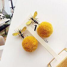 Cute Bee Dangle Earrings for Women Winter Drop Pom Pom Ball Fashion Ear Jewelry