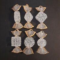 Set Of 6 Large Venetian Murano Art Glass Candies Hangable White & Gold Figurines