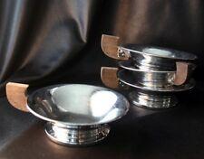 Vintage Modern Chrome with Wood Handle Dessert Bowls