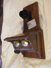 Fiddleback box wood wall Telephone,short single arm #5445 no dial, brass  (341)