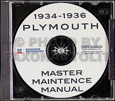 1934 1935 1936 Plymouth Shop Manual CD Repair Service PE PF PFXX PG PJ P1 P2