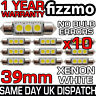 10x 3 SMD LED 39mm 239 272 CANBUS NO ERROR XENON WHITE NUMBER PLATE LIGHT BULB