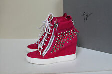 Giuseppe Zanotti Pink Suede Silver Stud High Top Wedge Sneaker  Shoes sz 10 / 40