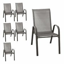 B-Ware 6er Stapelstühle Gartenstühle stapelbar Textilenbespannung Anthrazit