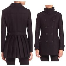 Burberry Brit Fenstead Pleated Military Trench Pea Coat UK 12 USA 1 IT 44 GER 40