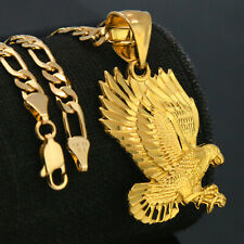 18k Gold Plated Eagle Diamond Cut Charm Pendant 5mm 18