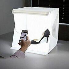 Mini Folding Studio Diffuse Soft Box With LED Light Black White Background