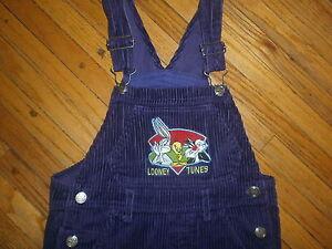 LOONEY TUNES OVERALLS Purple Corduroy Tweety Bird Bugs Bunny Sylvester Cat 7/8