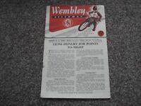 * WEMBLEY v WEST HAM 11/6/53 speedway programme