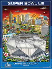 SUPER BOWL LIII (Atlanta 2019) Official NFL EVENT POSTER by Charles Fazzino