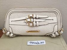 New Authentic Off White Woven BURBERRY Bridle Buckles Clutch Bag Flaw