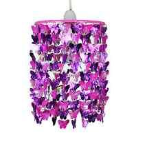 Modern Girls Kids Pink & Purple Butterflies Ceiling Light Pendant Lampshade NEW