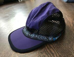 Kavu Hat Medium Mesh Strapback Purple Black Trail Runner Hiking Canoe Aztec