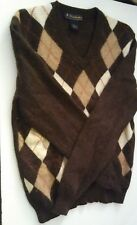 Brooks Brothers Extra Fine Italian Lambswool Women Sweater Size Med Argyle