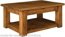 """any size made"" SOLID WOOD CHUNKY RUSTIC PLANK PINE COFFEE TABLE WITH SHELF"